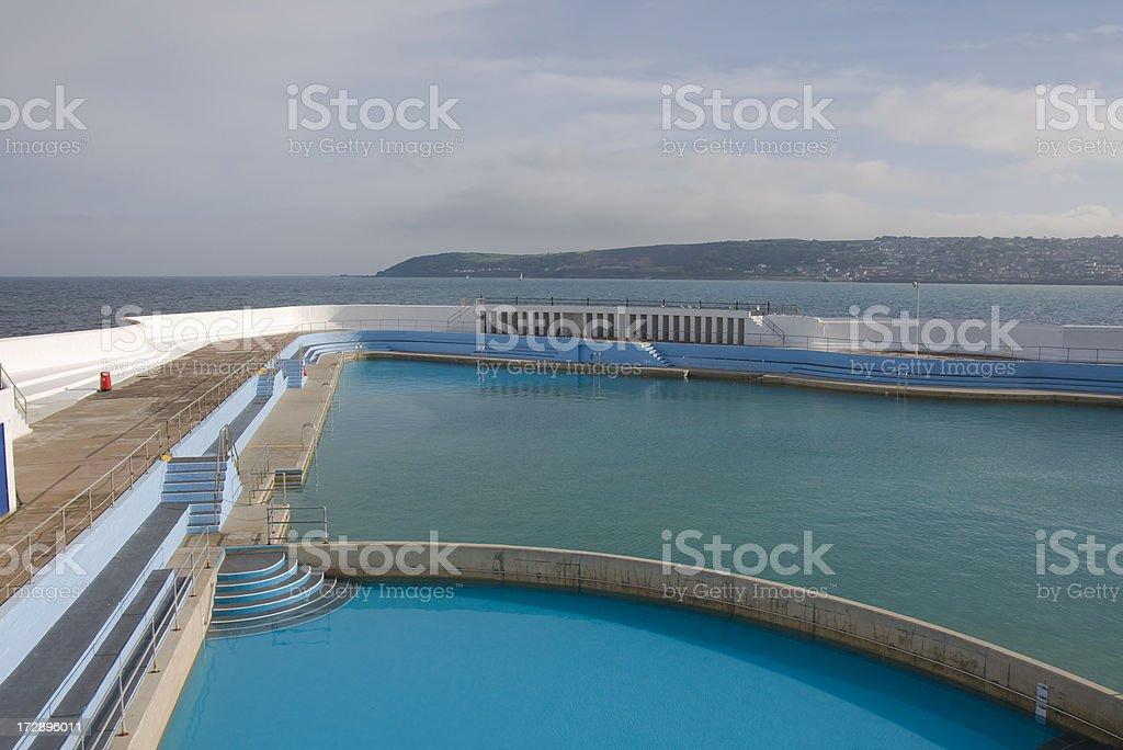 Open air pool, Penzance, Cornwall, England stock photo