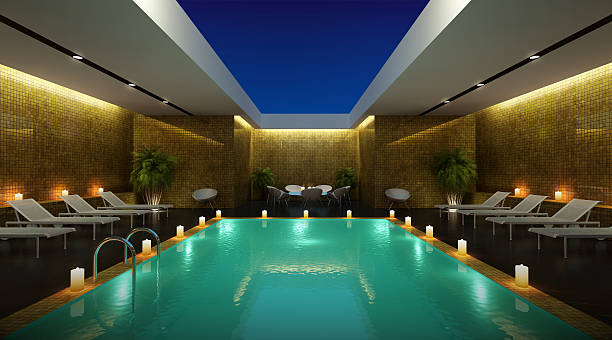 Open air pool stock photo