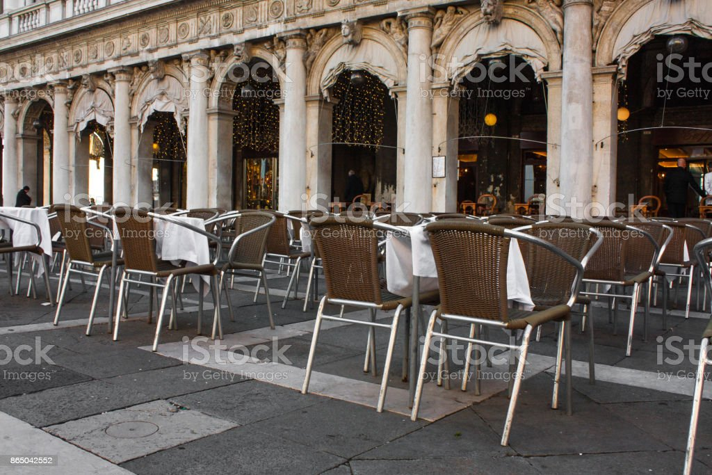 Open Air Restaurant Chairs With Tables On San Marco Square Venice Italy Stock Photo Download Image Now Istock