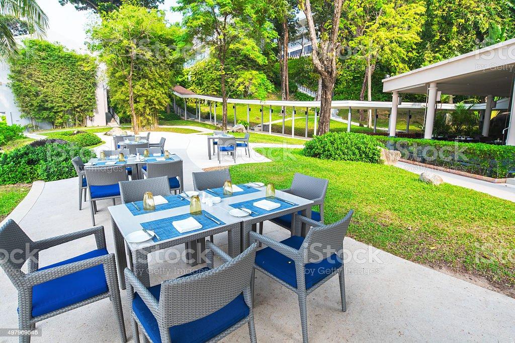 Open Air Restaurant In The Tropical Garden Stock Photo Download Image Now Istock