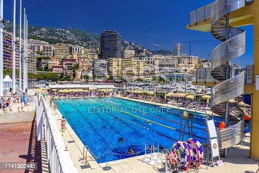 istock Monte-Carlo, Monaco - June 17, 2017: Open air swimming pool in city center of La Condamine, Monte-Car 1141302441
