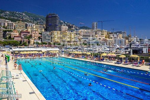 istock Monte-Carlo, Monaco - June 17, 2017: Open air swimming pool in city center of La Condamine, Monte-Car 1141302512