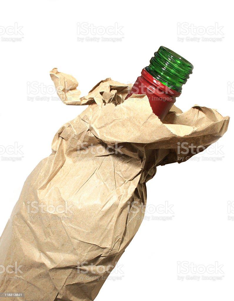 open alcohol bottle in a brown paper bag stok fotoğrafı