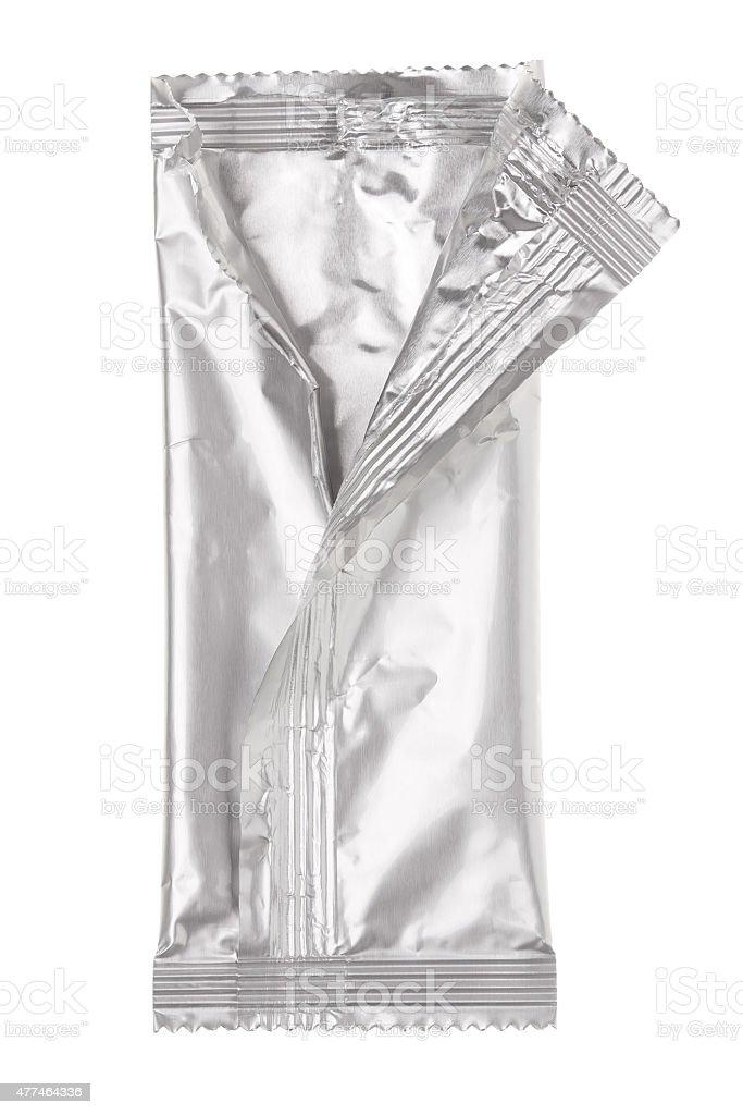 Open aluminum bag isolated on white stock photo