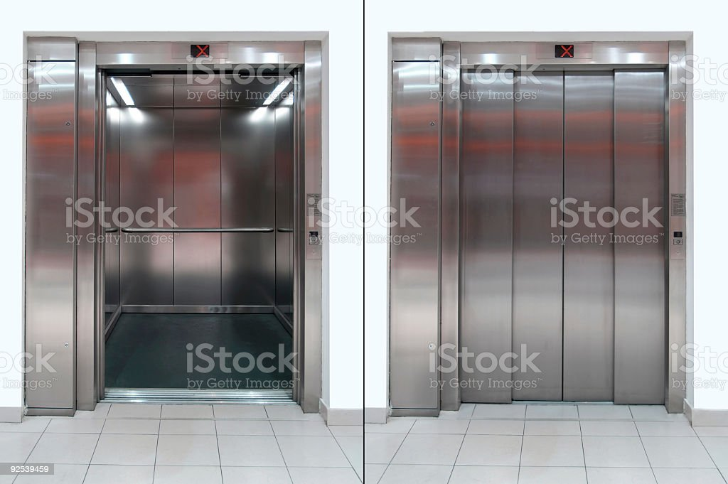 Open and Close Elevator door stock photo