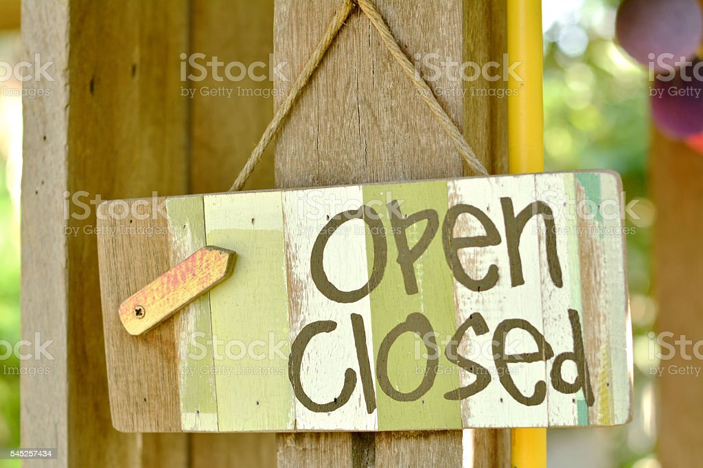 Open and close icons on a wooden background stock photo