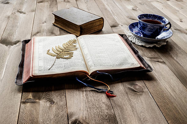 Open and closed Bibles with cup of tea – Foto