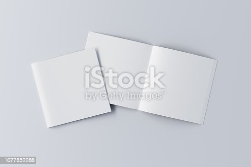 887572514istockphoto Open and closed  blank booklet 1077852288
