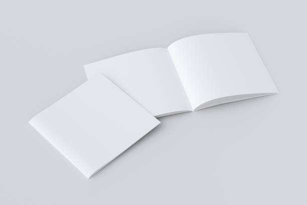 Open and closed  blank booklet Open and closed square blank booklet on white background with clipping path around booklets. 3d illustration catalog stock pictures, royalty-free photos & images