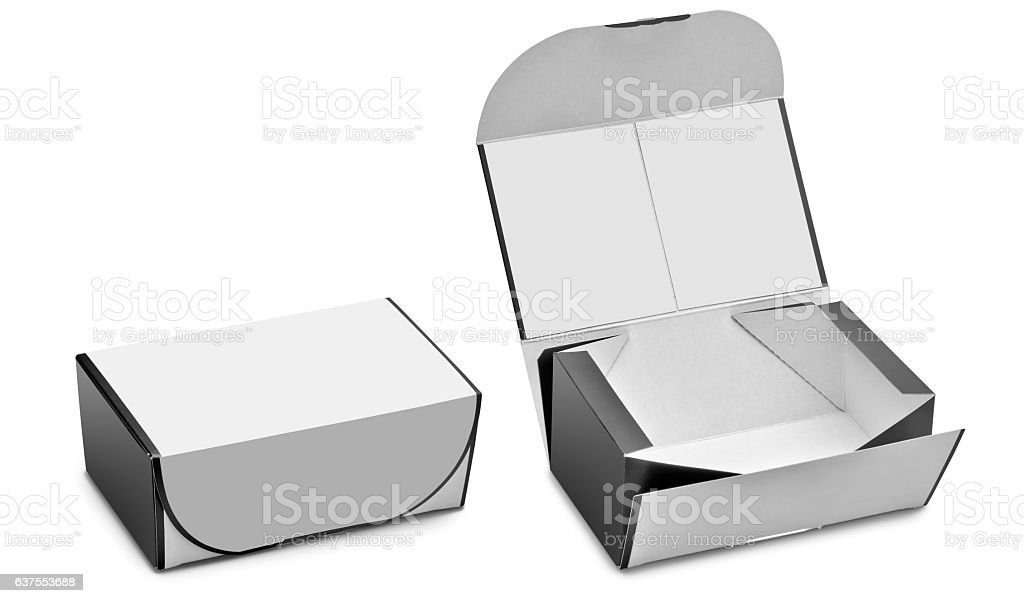 Open and closed blank box. Ready to use stock photo