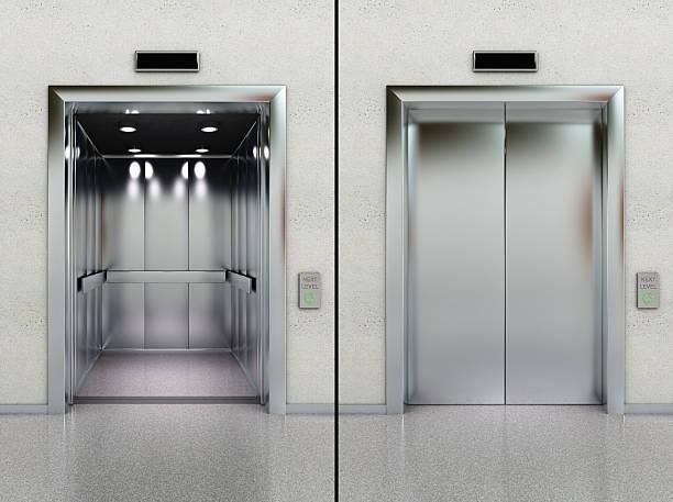 ascensore aperta e chiusa - ascensore foto e immagini stock