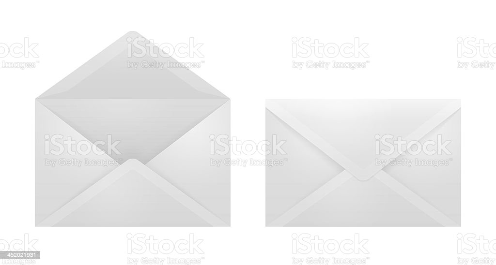 Open and closed envelopes. stock photo