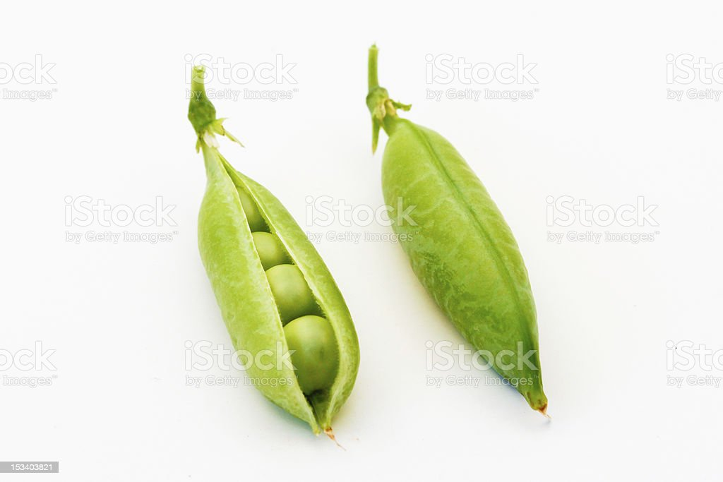 Open and Closed Pea Pods stock photo