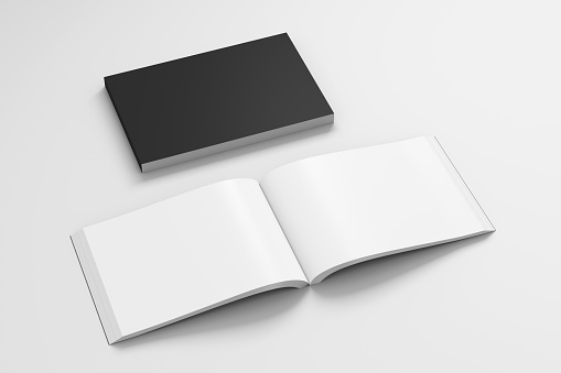 Blank black landscape soft cover book with glossy paper on white background. Open and closed, isolated with clipping path around each book. 3d illustration