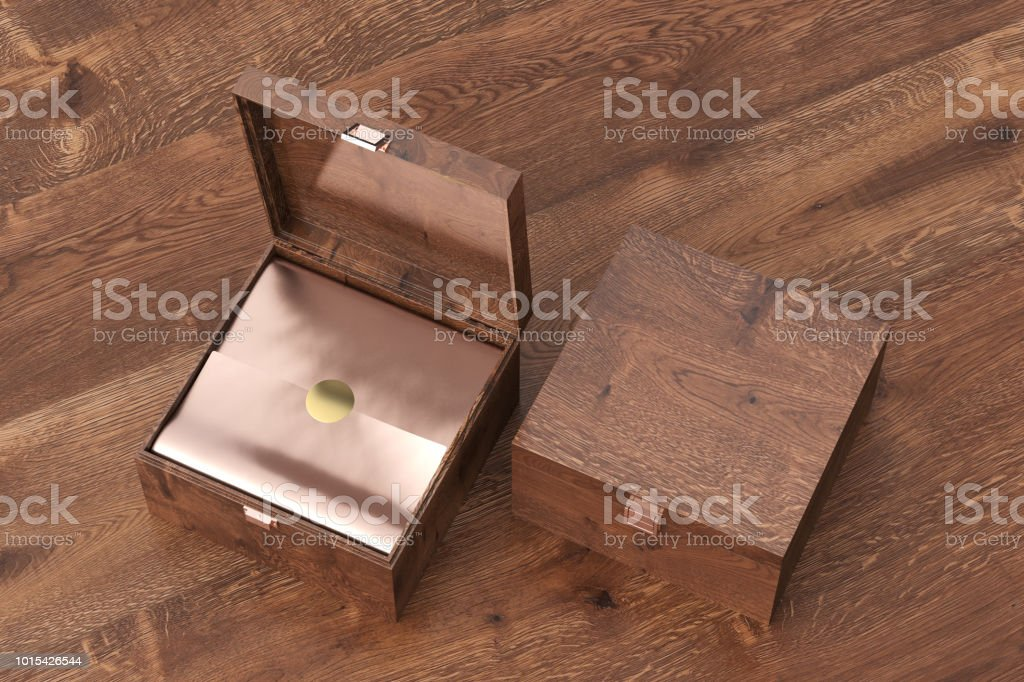 Open and closed square wooden gift box or casket on wooden...