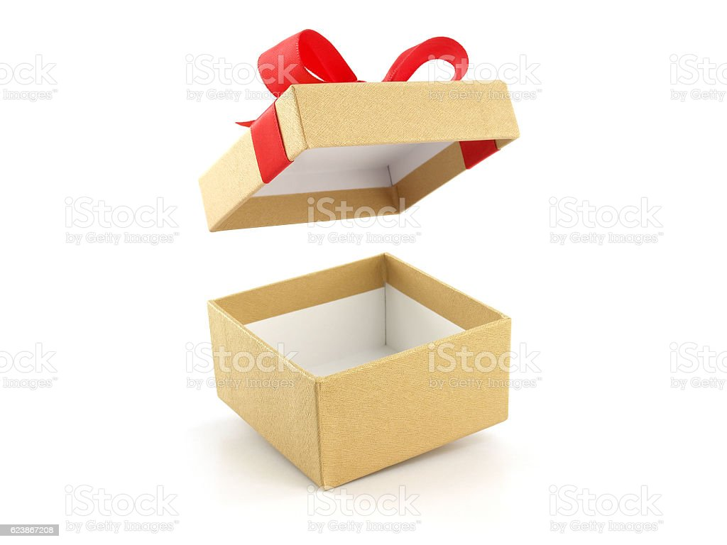 open and empty golden gift box with red ribbon bow – Foto