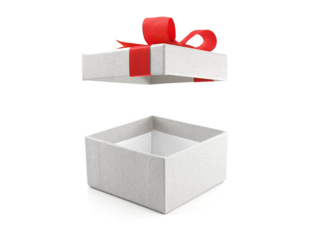 open and empty white gift box with red ribbon bow isolated on white background close up open and empty white gift box with red ribbon bow gift box stock pictures, royalty-free photos & images