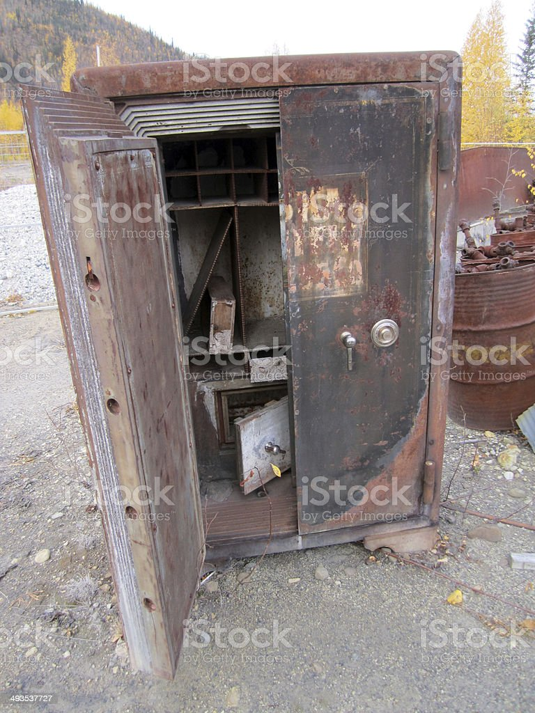 Open antique bank vault stock photo