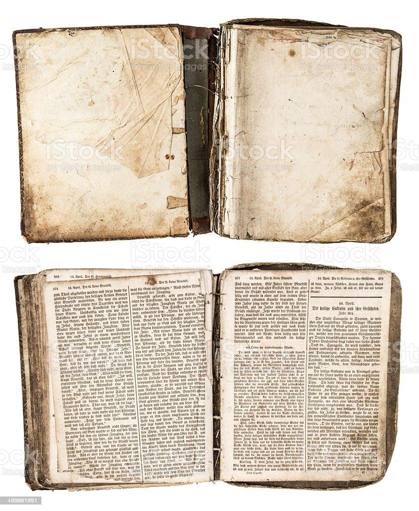 Antiguo Libro abierto con páginas en 1861 sucia - foto de stock
