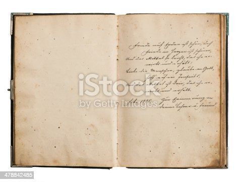 istock open antique book with old undefined text 478842485