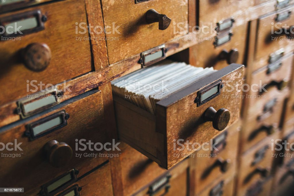 Open archive drawer stock photo