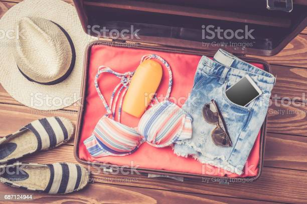 Open bag with beach accessories and clothes picture id687124944?b=1&k=6&m=687124944&s=612x612&h=8dttq9eqaj6c y1txqqht7qktpz5odndqbxhfagdwtw=