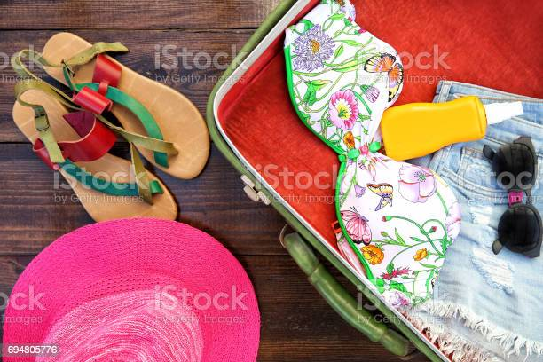 Open bag with beach or summer clothes picture id694805776?b=1&k=6&m=694805776&s=612x612&h=3a5oerocviqpwkyqruakvnb5 ip9qipopubahhznsw0=