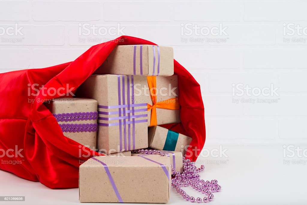open bag with gifts for Christmas stock photo