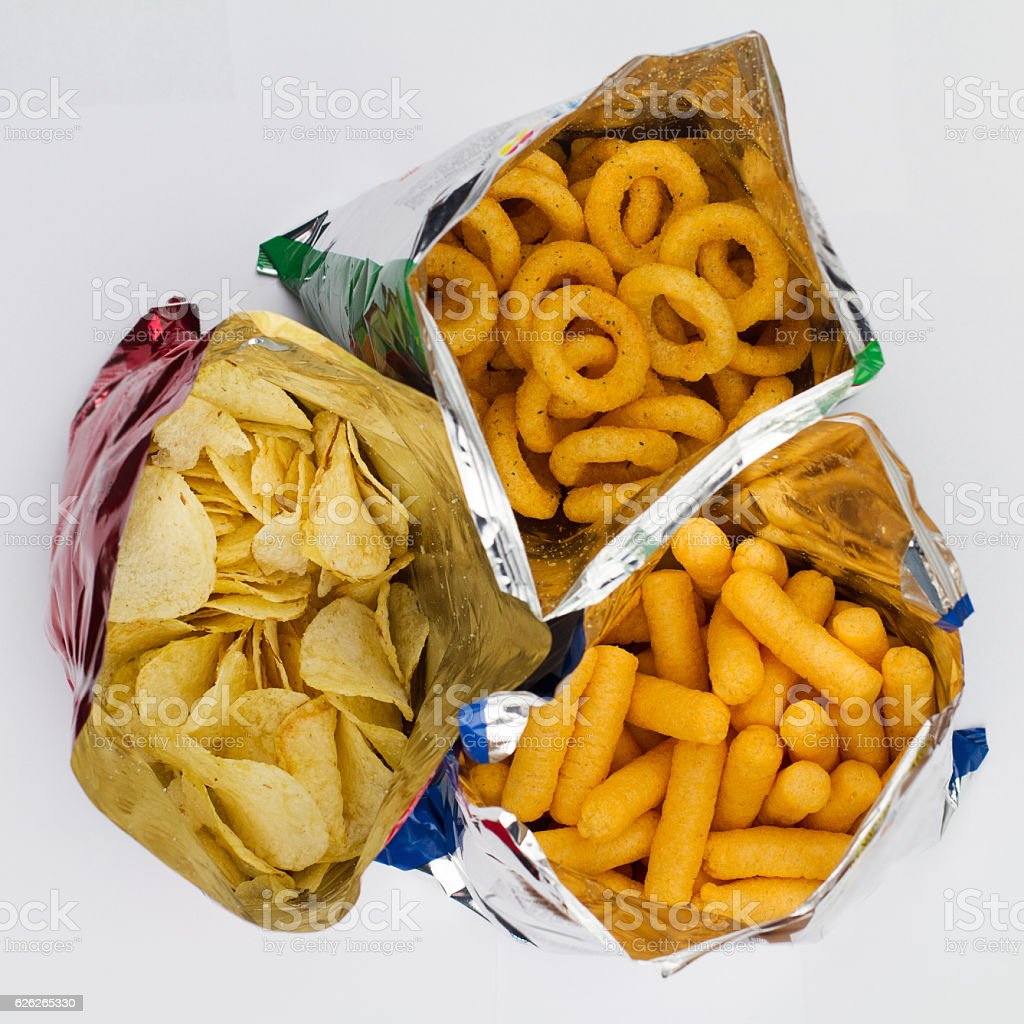 open bags of potato chips stock photo