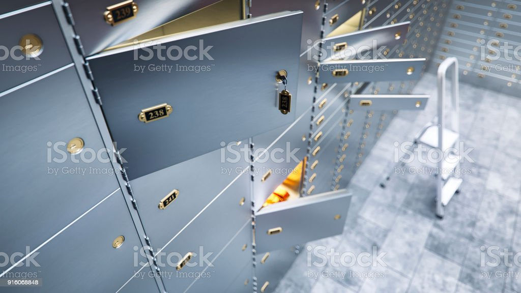 open bank safe door with  and gold inside 3d illustration стоковое фото
