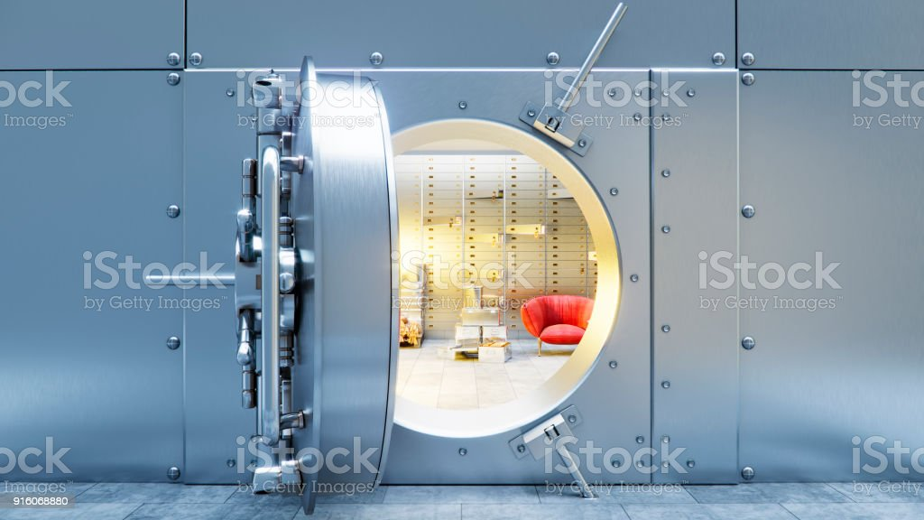 open bank safe door with dollars bills and gold inside 3d illustration stock photo