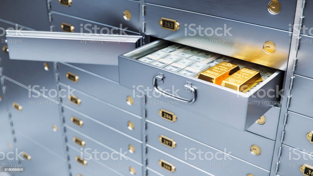 open bank safe door with dollars bills and gold inside 3d illustration стоковое фото