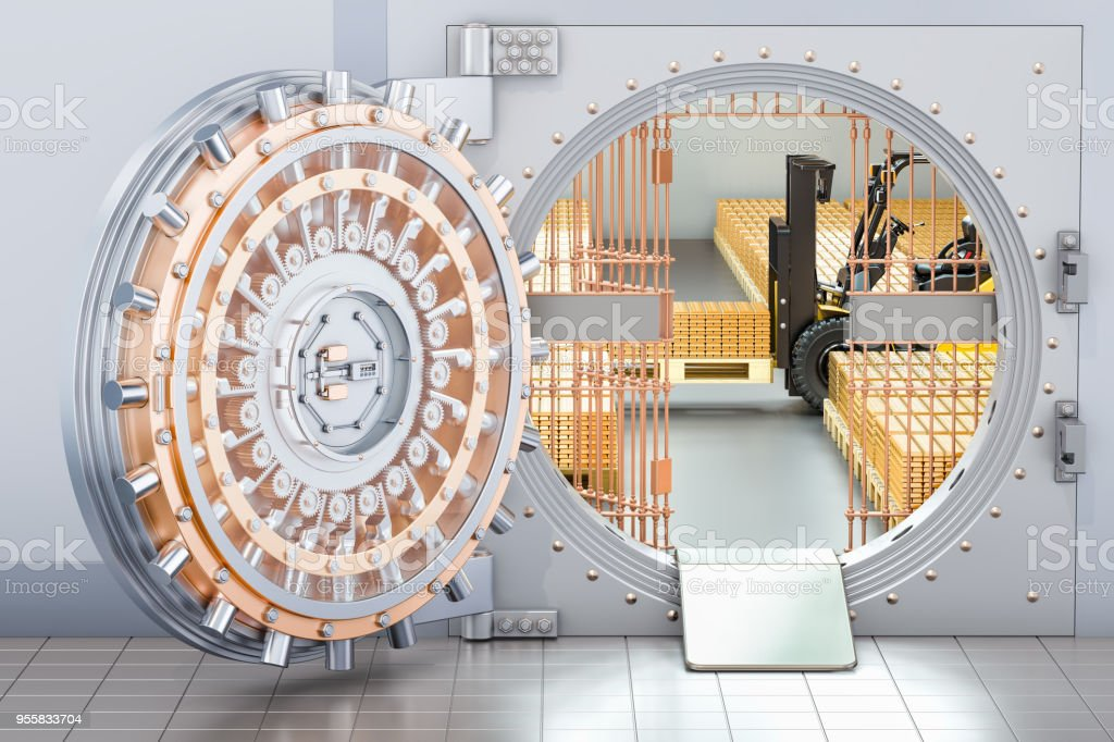 Open Bank Vault with golden ingots and forklift truck inside, 3D rendering стоковое фото