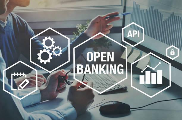 open banking concept stock photo