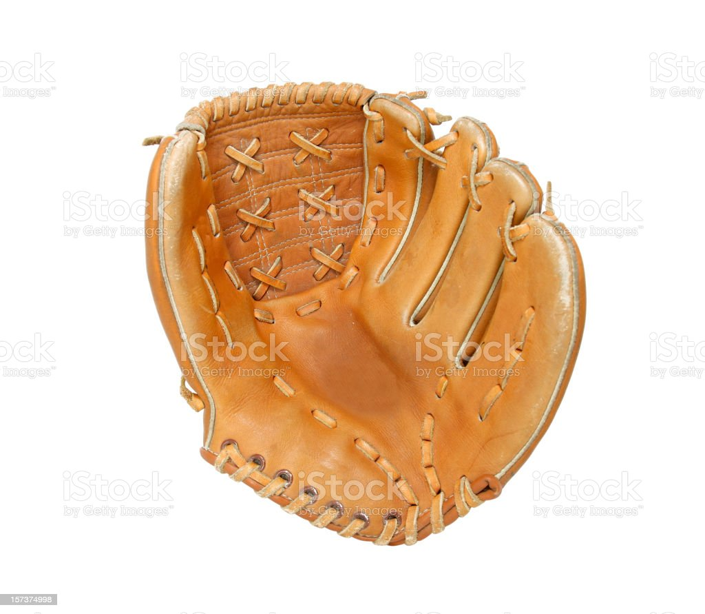 Open baseball glove on white background stock photo