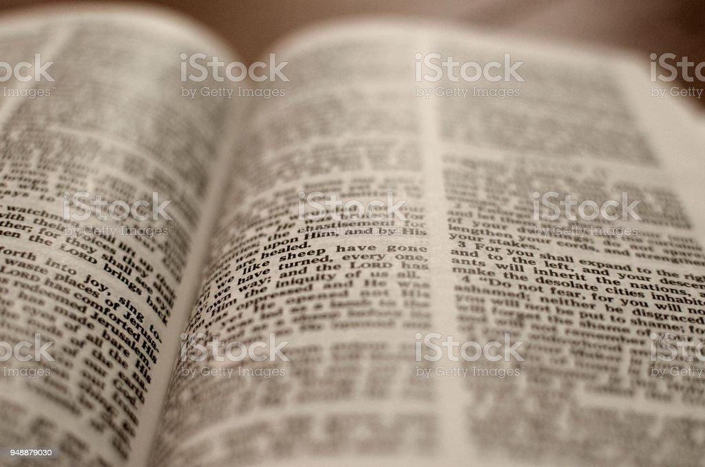 Open Bible -Close up stock photo