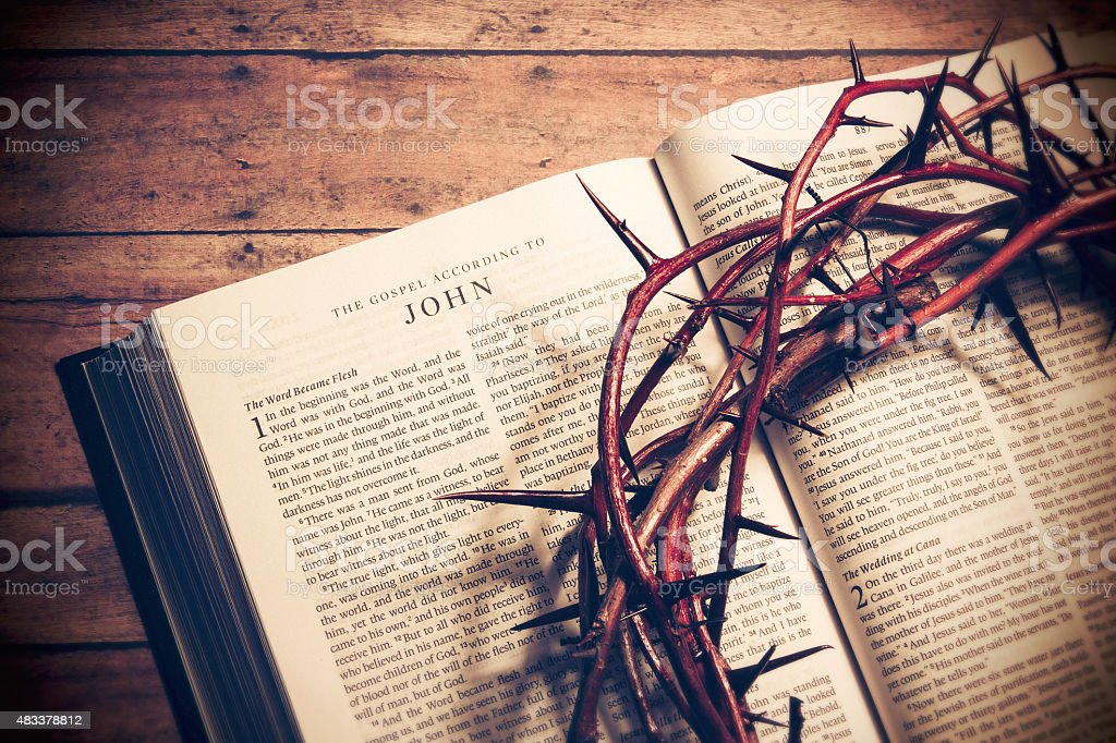 Open Bible on a wood floor stock photo