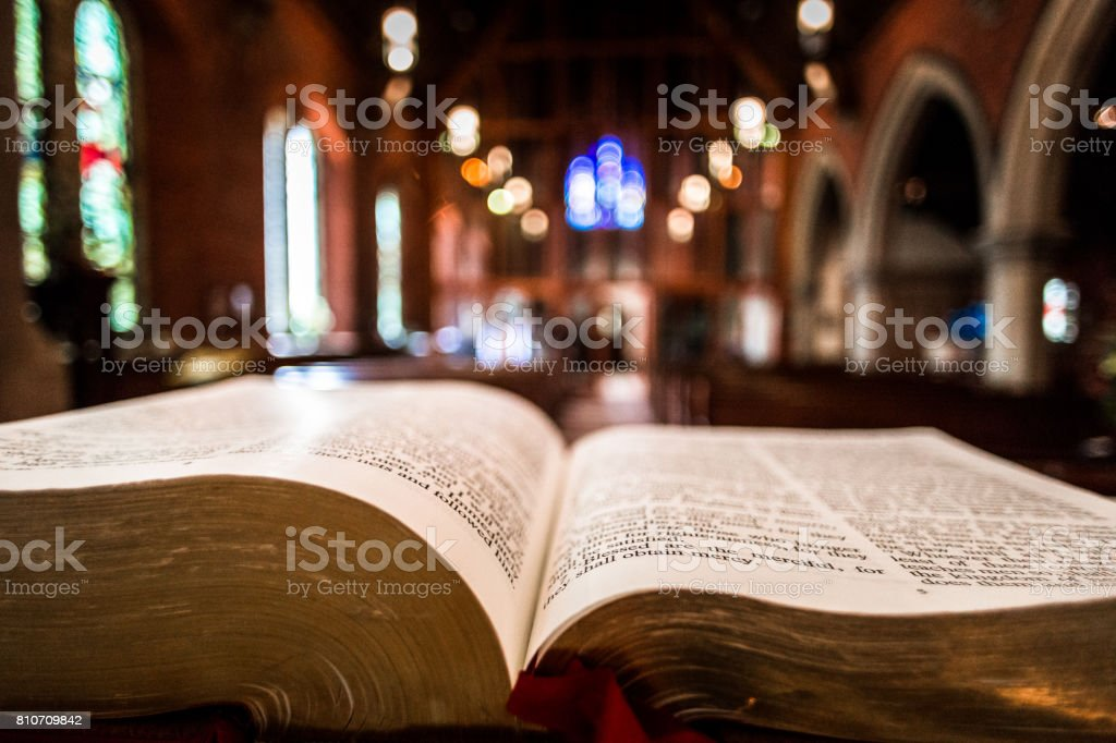 Open Bible On The Altar Inside An English Anglican Church Stock