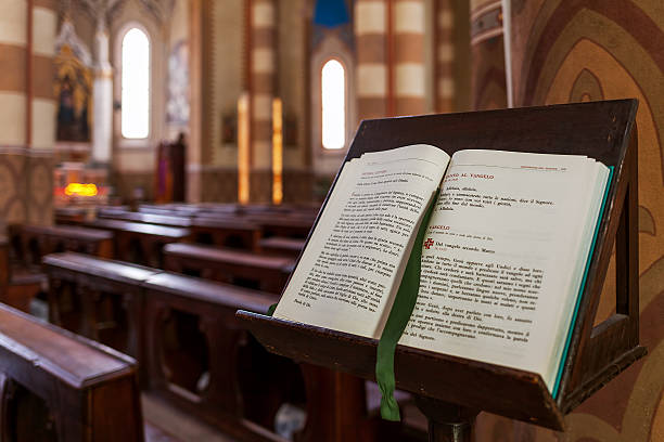 Open Bible on the stand. stock photo