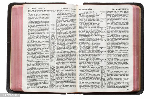 An open Bible.  This translation is King James, which is public domain.