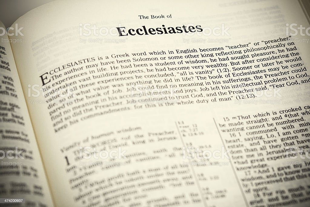 Open Bible ,The Book of Ecclesiastes stock photo