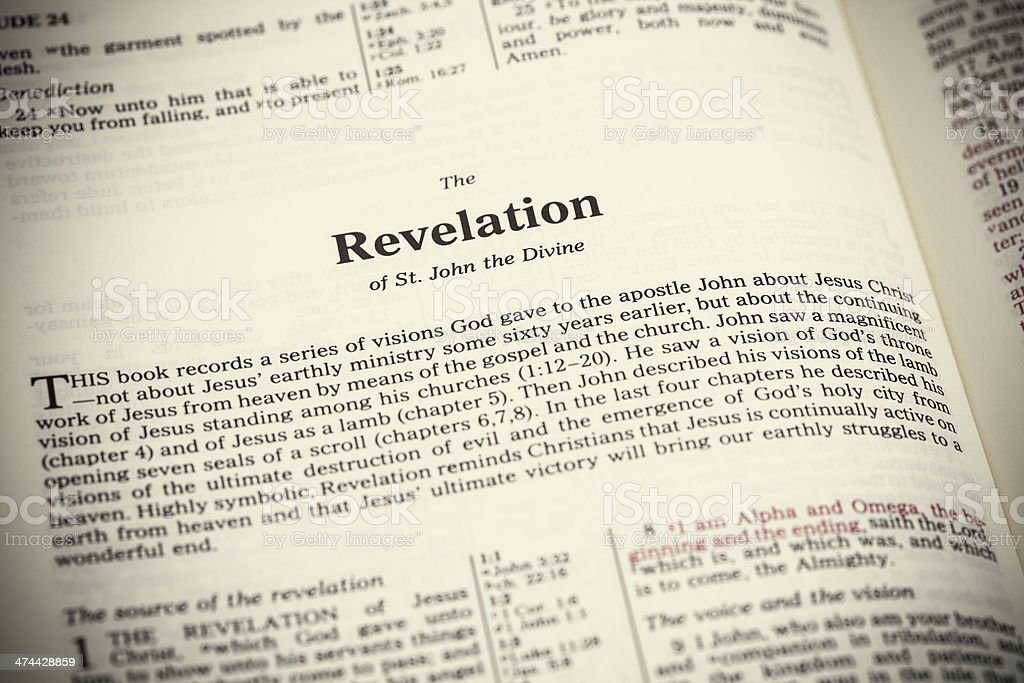 Open Bible ,The Book of Revelation stock photo