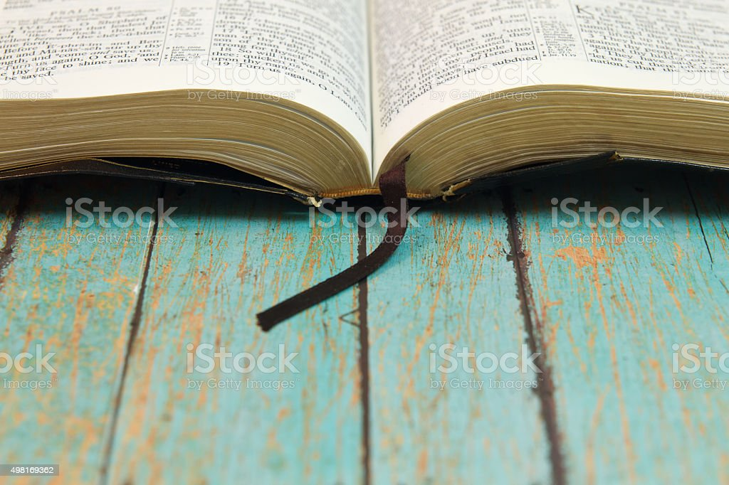 Open Bible with a bookmark stock photo