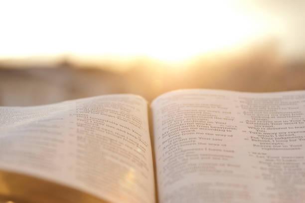 offene bibel mit strahlendem sonnenuntergang im hintergrund. - bible stock-fotos und bilder
