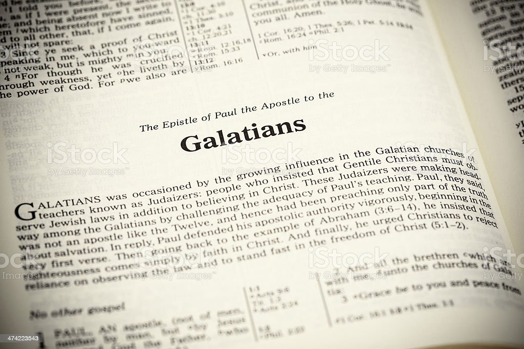 Open bible,The  Epistle of Paul the Apostle to the Galatians stock photo