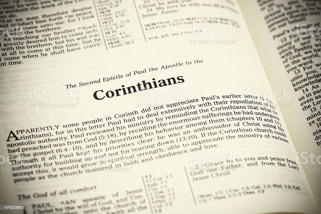 Open bible,The Second Epistle of Paul the Apostle to the Corinthians stock photo