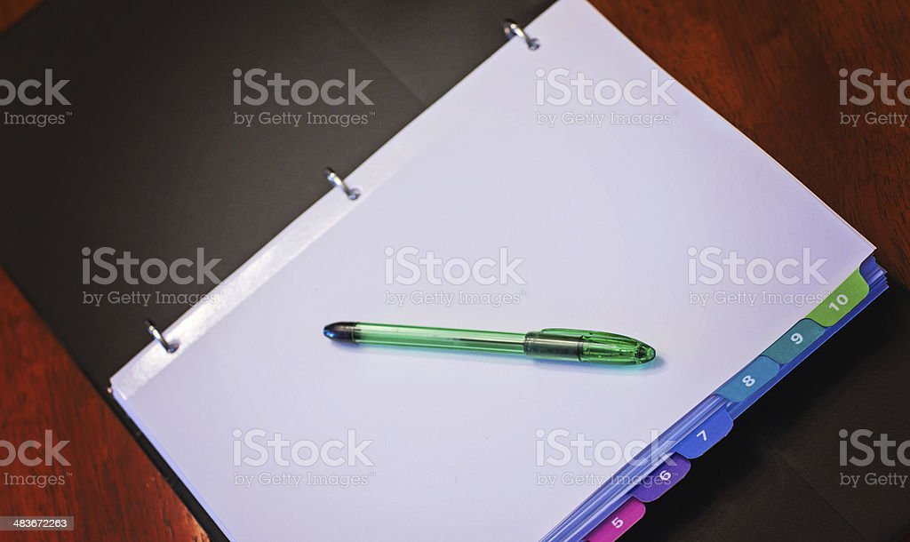 Open Binder on Table stock photo
