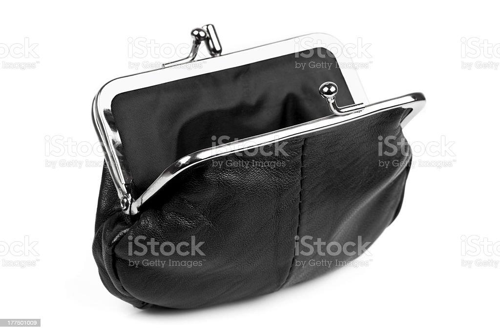 Open Black Change Purse Isolated stock photo