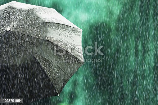 Open black umbrella in wet weather. Autumn rain. Deep sorrow. Wet umbrella against backdrop of street. Sad mood. Raining in city. Heavy rain on summer green background. Feel sorrow and sadness