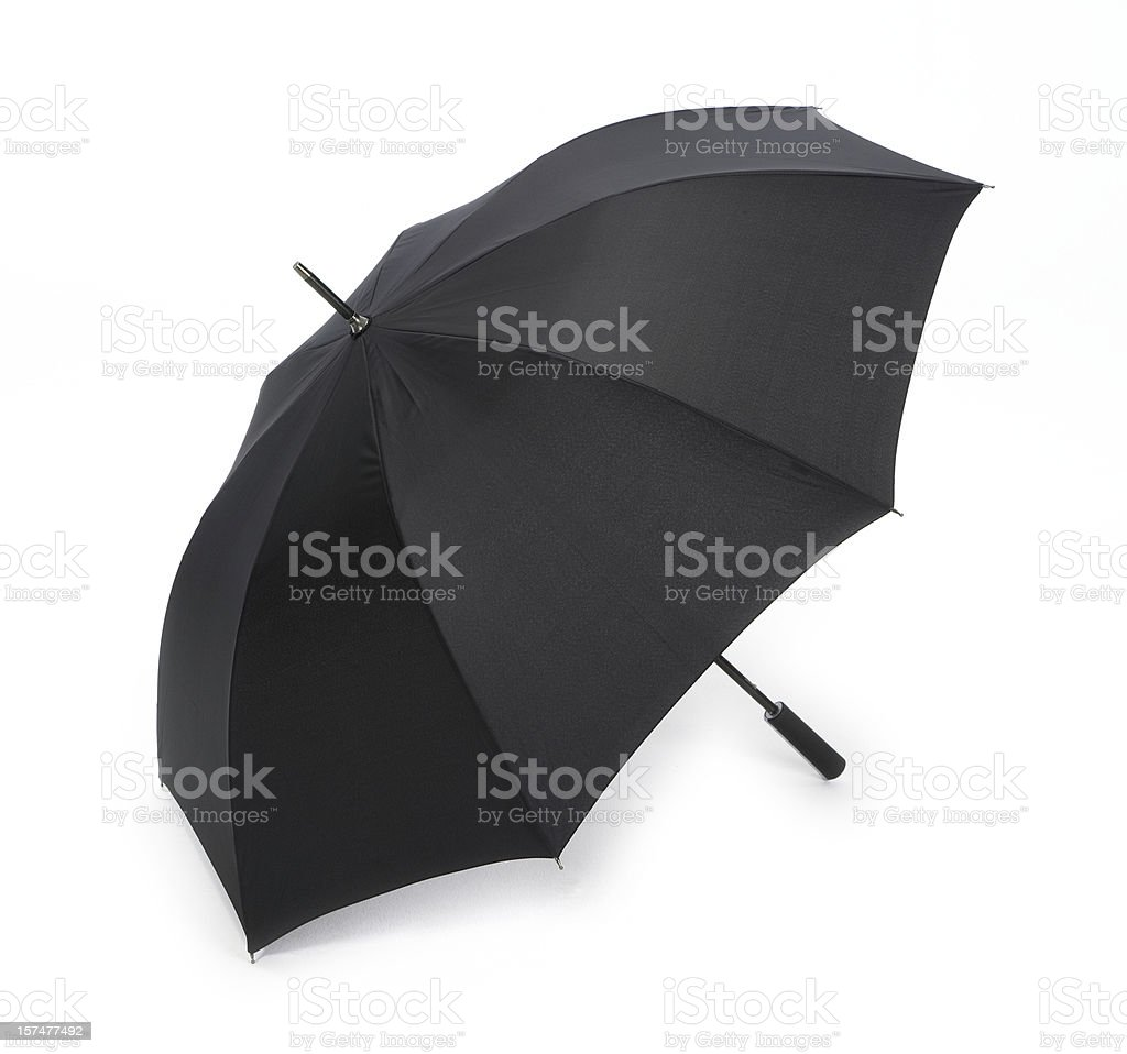 Open Black umbrella isolated on white royalty-free stock photo